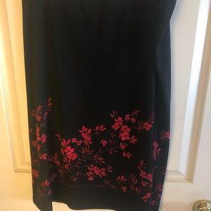 Red Floral Black Skirt